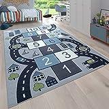 Paco Home Kinder-Teppich Für Kinderzimmer, Spiel-Teppich Mit Hüpfkästchen und Straßen, Grau, Grösse:120x160
