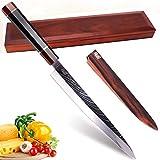 UK-S Art 'The Beauty Sashimi Damast Küchenmesser, 27cm Klinge, kompromisslos scharf mit octogonalem Holzgriff aus Sapeli-Mahagoni u. Ebenholz. In Stabiler Holzbox mit zus. Klingenscheide