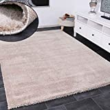 VIMODA Teppich Wohnzimmer in Beige Flauschig Microfaser Dicht gewebt-Weich, Maße:60x110