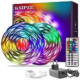 Ksipze LED Strip 15m RGB LED Lichterkette Streifen Licht mit Fernbedienung led Beleuchtung Leiste Band für Schrankdeko, Party, Zuhause, Schlafzimmer, Farbw