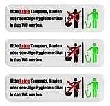 BIKE-label Schild 3D Aufkleber 125 x 35 mm 3 Stück Keine Hygieneartikel ins WC 900215