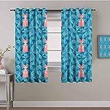 LucaSng Blickdicht Vorhang Wärmeisolierender - Blau Mode Dreieck Kreativität - 160x160 cm - Junge mit Mädchen Schlafzimmer Wohnzimmer Kinderzimmer - 3D Digitaldruck mit Ösen Thermo Vorhang