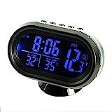 Auto-Thermometer, LCD-Uhr, 12–24 V, Auto-Zigarettenanzünder, LCD-Uhr, multifunktional, LCD-Uhr, Temperatur-Voltmeter, Messgerät, elektronische Uhr, Alarm-Monitor