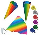 alles-meine.de GmbH Rohling Wellpappe - Schultüte - Bunte Regenbogen Farben 70 cm incl. Schleife - mit / ohne Kunststoff Spitze - Zuckertüte zum selber Basteln - 6 eckig - regenb..