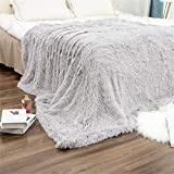 N /A Kuscheldecke Flauschige Lange Decke 200 * 230cm Kunstfelldecke Wohndecke Klimaanlage Decken Geeignet für Bett oder Sofa(Grau)