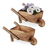 Relaxdays Pflanzschubkarre 2er Set, gebranntes Holz, Gartendeko, Vintage Design, zum Bepflanzen, HBT: 10x22x12 cm, N