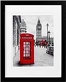 Holz-Bilderrahmen mit 2 Passepartouts für 8 x 10 oder 8,5 x 11 Fotos mit Passepartout oder 11 x 14 ohne Matte, Fotorahmen mit hochauflösendem Glas für Wand oder Tischplatte. schwarz