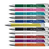 50 x Metallkugelschreiber mit 3 Zierringen inkl. Wunsch-Gravur Farbe | GELB / GOLDGELB | wählen Sie aus 20 Schriftarten und 11 Farben Ihren Wunsch-Kugelschreiber
