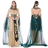 Damen Halloween-Cosplay-Kleid, mittelalterlich, Vintage, ägyptische Göttin, halsfrei, schulterfrei, schmal Gr. L, g