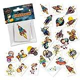 24 Tattoos * Rakete * als Mitgebsel und Spiel für Kinder | 47321 | Weltraum Astronaut Weltall Space Sticker Tattoo Kindertattoo Kindergeburtstag Geburtstag