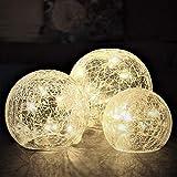 Gadgy Glaskugeln Licht mit Crackle Glas | Deko LED Kugel | Dekoration Wohnung Modern | Leuchtkugel | Tischlampe oder Fensterlampe für Innen und Aussen | Frühlingsdeko | Muttertags-geschenk
