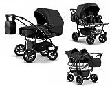 Zwillingswagen Mikado Kinderwagen - 3 in 1- Set Wanne Buggy Babyschale Schw