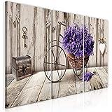 murando - Bilder Blumen 120x60 cm Vlies Leinwandbild 3 TLG Kunstdruck modern Wandbilder XXL Wanddekoration Design Wand Bild - Lavendel Fahrrad Holzoptik Herz b-C-0644-b-e