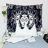 KHKJ Sonne und Mond Mandala Tapisserie Kopfteil Wandkunst Tagesdecke Wohnheim Tapisserie für Wohnzimmer Schlafzimmer Wohnkultur A4 95x73cm