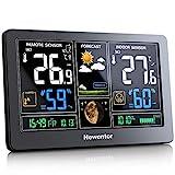 Newentor Wetterstation mit Außensensor Funk Digitales Farbdisplay DCF-Funkuhr Multifunktionale Funkwetterstation Thermometer Hyg