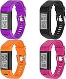 Gransho Silikon Uhrenarmband kompatibel mit Garmin Vivosmart HR+ Plus/Approach X10 / Approach X40, Ersatzarmband Sportarmband Uhr Zubehör (4-Pack H)