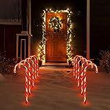Honeyhouse Weihnachtsweg Lichter, Weihnachten Beleuchtete Zuckerstangen Lichter Weihnachtsweg Marker 18 Zoll hohe LED-Weihnachtslichter für Weinachtsdeko Partei Garten (10 Pcs)