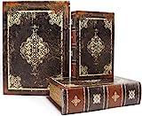 Jolitac 3er Buchattrappe Box Set, Hohles Buch mit Geheimfach, Vintage Buchversteck Getarnte Buchtresor, Schmuck Aufbewahrungsbox Dekorative Buch, Requisiten Schatzkiste in Antikstil (Vintage)