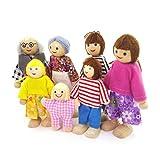 Top 1 Puppenhaus Puppenfamilie 7 Personen Biegepuppen Holz Puppenhauspuppen, Nr. 487