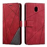 Hülle für Samsung Galaxy J7 2017, SONWO Premium Leder PU Handyhülle Flip Case Wallet Silikon Bumper Schutzhülle Klapphülle für Galaxy J7 2017, Rot