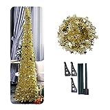 Künstlicher Lametta Pop-Up-Weihnachtsbaum mit Ständer, wunderschöner Faltbarer künstlicher Weihnachtsbaum Größe 2 Farbe Gold