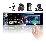 Hikity Autoradio Bluetooth Single Din 4 Zoll Kapazitiv Touchscreen Radio FM AM Empfänger mit USB, AUX-in, SD-Karten-Eingangsanschluss + Rückfahrkamera & Mikrofon