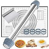 Gifort Nudelholz aus Edelstahl, Teigrolle inkl 4 abnehmbare Scheiben & Non-Stick Silikon Backmatte, Teigroller mit Teigschaber für Torten/Kuchen/Baken/Kekse/Fondant/Pizza