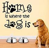 Wandaufkleber PVC Abnehmbare Wandtattoo Zuhause ist, wo der Hund ist, Schlafzimmer Haustierzimmer, Hundehütte Pfote, Haustierhaus Dekoration 45X42C