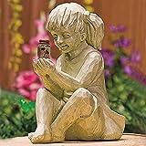 Garten Figuren Solar Lichter,Gartendekor Figuren mit Solarleuchte,Ein Kind mit Solar Glühwürmchen Garten Statue-Garten Dekoration,Gartenfigur Gartenstatuen Solar Gartenbeleuchtung für Haus (Mädchen)