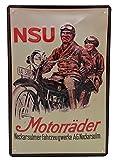 NSU Motorrad Oldtimer Klassiker - hochwertig geprägtes Retro Werbeschild, Blechschild, Türschild, Wandschild, 30 x 20 cm