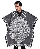 Threads West Authentischer mexikanischer Poncho, wendbar, Cobija-Decke, Aztekenkalender - Grau - Einheitsgröß