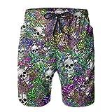 MayBlosom Herren Strand-Shorts Angel Skulls Sommer Badehose Quick Dry Boardshorts Funny 3D Printed Beachwear mit Kordelzug Gr. L/XL, Weißes Stil1
