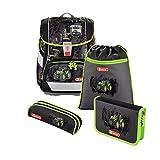 """Step by Step Schulranzen-Set 2IN1 """"Grenn-Tractor"""" 4-teilig, grün-schwarz, Traktor-Design, ergonomischer Tornister mit Reflektoren, höhenverstellbar mit Hüftgurt für Jungen 1. Klasse, 19L"""