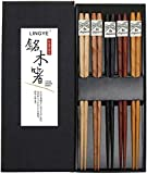 LINGYE Japanische EssstäBchen Holz 5 Paare Wiederverwendbare NatüRliche EssstäBchen Waschbar FüR GeschirrspüLer 23Cm Bambus EssstäBchen Chinesische Geschirr Set Mit LuxuriöSe Schwarz Handg