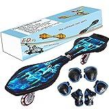 EiDevo Waveboard, Double Wheel Scooter Caster Board mit LED-Blitzrad Wave Board Geburtstagsgeschenk Anti-Rutsch-Schlangenbrett Geeignet für Kinder und Jugendliche Anfänger Skateboard (Schädel)