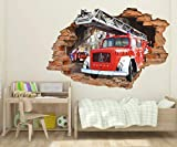 Wandtattoo Poster Tapeten Fire truck 3d wall sticker, fire truck wall sticker, removable vinyl sticker-50x70cm