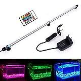 MLJ RGB Aquarium Beleuchtung, LED Aquarium Leuchte 92 cm Wasserdicht Aquarium Lampe Stecker EU Unterwasser LED-Lichtbalken für Fisch Tank mit Fernbedienung (RGB)