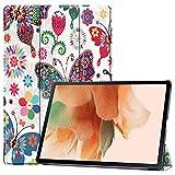DWaybox Smart Case für Samsung Galaxy Tab S7 FE 12,5 Zoll 2021 SM-T730 T736B, mit Auto Wake/Sleep, Trifold Slim Lightweight Hard Shell Schutzhülle mit Multi-Winkel Ständer Schmetterling