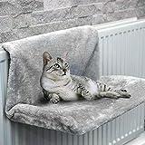 Heizkörperbett für Katzen, 46 x 30 x 25 cm, Bett zum Aufhängen am Heizkörper aus weichem Plüsch, warm, abnehmbar, waschbar, Hängematte für Katzen, Heizung, für Haustiere, Katzen, Kätzchen (grau)