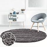 ayshaggy Shaggy Teppich Hochflor Langflor Einfarbig Uni Dunkelgrau Weich Flauschig Wohnzimmer, Größe: 200 x 200 cm Rund