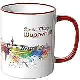 WANDKINGS® Tasse, Schriftzug Guten Morgen Wuppertal! mit Skyline - ROT