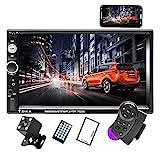 Camecho Doppel Din Auto Radio Audio Bluetooth Touch MP5 Player USB FM Android Telefon Spiegel Link Entertainment Multimedia Stereo + 4 LED Mini Rückfahrkamera mit Lenkradfernbedienung