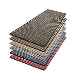 casa pura Teppich Läufer Bouclé | Teppichläufer mit Streifenmuster | für Wohnzimmer, Flur, Küche | kombinierbar mit Stufenmatten | Meterware in 6 Farben (Blau, 80x400 cm)