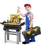 GeyiieTOYS Werkzeugkoffer Werkzeug Kinder Spielzeug Werkzeugkasten Handwerker Set Spielwerkzeug Weihnachten Geschenk ab 3 Jahre, 66 Stücke