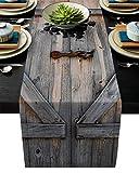 Xspring Rustikaler Tischläufer aus Leinen für Küche, alte Holzgarage, Tor, Hochzeitsdekorationen und Bastelarbeiten, Tischläufer für Dinnerpartys, Hochzeiten, Veranstaltungen, 33 x 228 cm