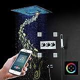 HPDOM Intelligent Musik Duschsystem,LED Multifunktional Dusche,400x400 mmmm RGB Rainshower Brausegarnitur,Spa Spray,Regen,304 Edelstahl, Duscharmatur,Handbrause,Smartphone-Steuerung