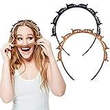 Haarbänder mit Clips, 2 Stück Hairstyle Hairpin, 2020 Neuentwicklung Haarreife Stirnbänder, Frisurenhilfe Haarreif mit Klammern, Haarschmuck Stirnbänder Haarband, Styling für Männer und Frauen