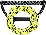 MESLE Kneeboard-Leine Hook Up 60' 3-Loop, mit Starthilfe-Hantel für Kneeboard, 3 Sektionen, Länge: 15,2-18,3 m, Eva-Griff, Lime-schw