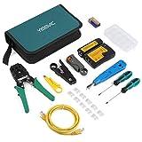Yissvic 12 in 1 Netzwerk Werkzeug Set Testgerät Kabeltester LAN Reparaturwerkzeuge Tool-Kit für RJ45 RJ11 Cat5 Cat6 Kabel