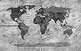 Fototapete selbstklebend | Weltkarte Retro II | in schwarz-weiß 200x150 cm | Bild-tapete Moderne Wand-deko Dekoration Wohnung Wohnzimmer Wandtapete | 17200
